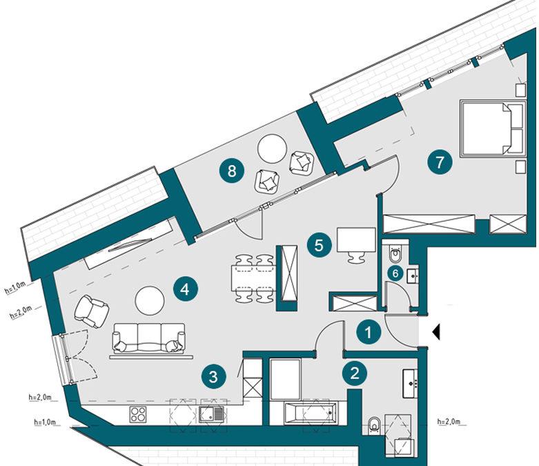 Penthouse (DG), 87.83 m²